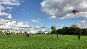 Le centinaia di aquiloni sono in ascesa nel cielo durante il festival dell'aquilone il giorno di riunificazione tedesca archivi video