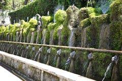 Le Cento Fontane, `-Este för villa D springbrunn och trädgård i den Tivoli neaen Arkivfoto