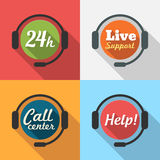 Le centre d'appels/service client/24 heures soutiennent l'icône plate Photos libres de droits