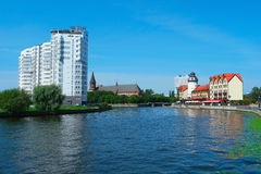 Le centre de Kaliningrad et de rivière de Pregolya Image libre de droits