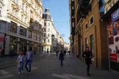 Le centre de la ville Brno le 30 avril 2016 Brno est la deuxième plus grand ville dans la République Tchèque Image libre de droits