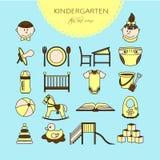 Le centre de soin d'enfant et de bébé colorent la ligne mince icônes illustration stock
