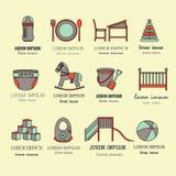Le centre de soin d'enfant et de bébé colorent la ligne mince icônes illustration de vecteur