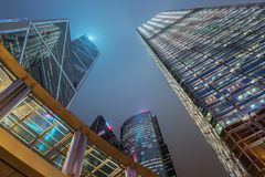 Le centre ville de Hong Kong et centre d'affaires, bâtiments de Skycraper Photos stock