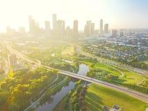 Le centre ville de Houston de vue aérienne et quatrième secteur de salle Images libres de droits