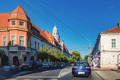 Le centre ville de Radauti, Roumanie Images stock