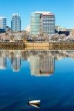 Le centre ville et Cormorant photos libres de droits