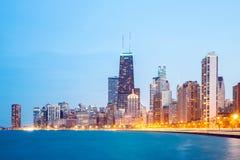 Le centre ville et lac Michigan de Chicago Image libre de droits