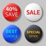 Le cercle brillant de la vente 3d se boutonne ou badges avec les maquettes promotionnelles de vecteur des textes d'offre exclusiv Photographie stock