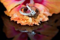 Le cercle de l'anneau de mariage de diamants a placé avec le solitaire Photographie stock