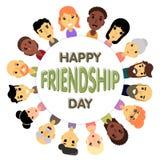 Le cercle des amis de différents genres et nationalités comme symbole de jour international d'amitié illustration stock