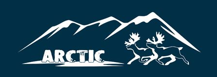 Le cerf commun polaire est un symbole de l'Arctique Photographie stock libre de droits