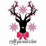Le cerf commun, tout que vous avez besoin est amour illustration libre de droits