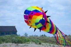 Le cerf-volant en forme de cône géant au-dessus des dunes d'océan étaye Photographie stock libre de droits