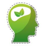 Le cerveau de vert de chaux part de l'icône illustration libre de droits