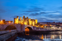 Le château de Conwy au Pays de Galles, Royaume-Uni, série de Walesh se retranche photographie stock libre de droits