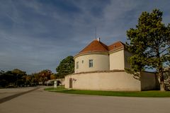Le château de Neugebaude avec son parc dans la fin d'été Vienne, Autriche photographie stock