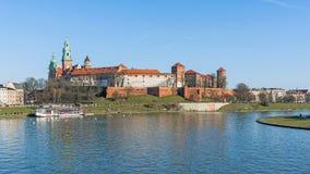 Le château royal à la colline de Wawel Image stock