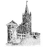 Le château royal de Koenigsberg Kaliningrad Russie, illustration tirée par la main de vecteur de gravure d'isolement sur le blanc Photographie stock