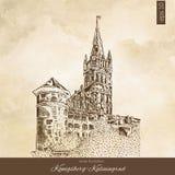 Le château royal de Koenigsberg, Kaliningrad Russie, illustration tirée par la main de vecteur de gravure d'isolement sur le brun Images libres de droits