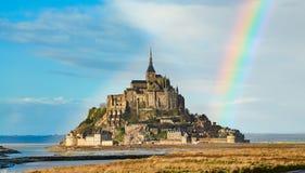 Le château sur l'île de Mont Saint Michel photo libre de droits