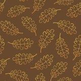 Le chêne décrit laisse à modèle sans couture la texture qu'on peut répéter Images stock