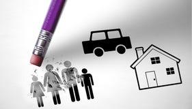 Le chômage et crise économique favorisant la crise de famille photographie stock libre de droits