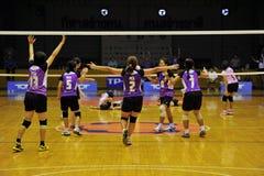 le chaleng de joueurs de volleyball de victoire Photo stock