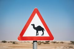 Le chameau signent dedans le d?sert de l'Isra?l Route vide photographie stock