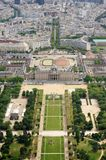 Le Champ de Mars gardens in Paris, France. Beautiful aerial view of Champ de Mars in Paris, France. This is a large public greenspace in Paris, France, located Stock Images