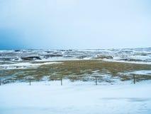 Le champ et la montagne est couvert par la neige Image stock