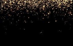 Le champagne d'or de baisse étincelle, les particules jaunes lumineuses brillent sur le bla illustration libre de droits