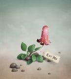 Le champignon de couche rouge toxique avec l'étiquette me boivent ea Photographie stock libre de droits