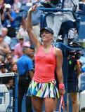 Le champion Angelique Kerber de Grand Chelem de l'Allemagne célèbre la victoire après son match de quarts de finale à l'US Open 2 Photo libre de droits