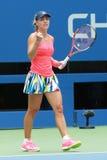 Le champion Angelique Kerber de Grand Chelem de l'Allemagne célèbre la victoire après son match de quarts de finale à l'US Open 2 Images libres de droits