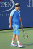 Le champion John McEnroe de Grand Chelem de sept fois pendant l'US Open 2014 soutient le match d'exposition Photographie stock libre de droits