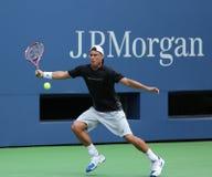 Le champion Lleyton Hewitt de Grand Chelem de deux fois pratique pour l'US Open 2013 Photographie stock