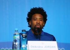 Le champion olympique Jordan DeAndre pendant la conférence de presse des Etats-Unis d'équipe de basket du ` s des hommes à Rio 20 images stock