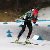 Le champion olympique Laura Dahlmeier de l'Allemagne concurrence dans le ` s de femmes de biathlon poursuite de 10 kilomètres aux Photo stock