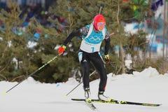 Le champion olympique Laura Dahlmeier de l'Allemagne concurrence dans le ` s de femmes de biathlon poursuite de 10 kilomètres aux Photos stock