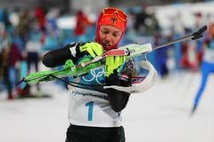 Le champion olympique Laura Dahlmeier de l'Allemagne concurrence dans le ` s de femmes de biathlon poursuite de 10 kilomètres aux Photographie stock