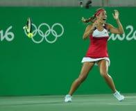 Le champion olympique que Monica Puig célèbre la victoire aux femmes choisit la finale de Rio 2016 Jeux Olympiques Photographie stock
