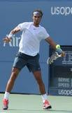 Le champion Rafael Nadal de Grand Chelem de douze fois pendant troisièmement le rond choisit le match contre Ivan Dodig à l'US Ope image libre de droits