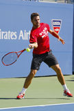 Le champion Stanislas Wawrinka de Grand Chelem pratique pour l'US Open 2014 chez Billie Jean King National Tennis Center Photos libres de droits