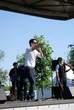 Le chanteur d'homme exécute à la célébration de Sabantui à Moscou Photo stock