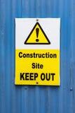 Le chantier de construction empêchent d'entrer le signe Image stock