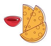 Le chapati croustillant savoureux avec le bol de sauce a isolé l'illustration illustration stock