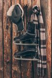 Le chapeau avec l'oreille s'agite avec l'écharpe et accrocher noir de patins photographie stock libre de droits