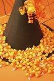 Le chapeau de la sorcière avec la toile d'araignée et le maïs de sucrerie Photo libre de droits