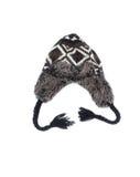Le chapeau de laine, gris a tricoté le chapeau de laine avec l'empêchement Photographie stock libre de droits